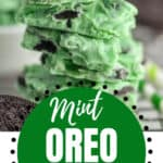 pinterest image of mint Oreo bark