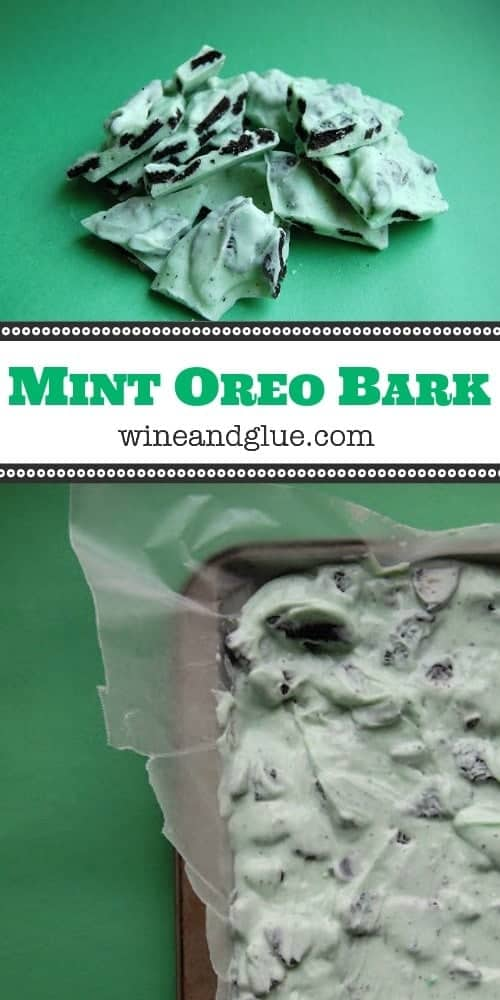This Mint Oreo Bark is only FOUR INGREDIENTS and is always the first to go on dessert plates!