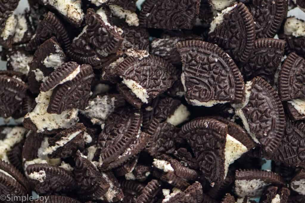 close up of broken pieces of Oreos