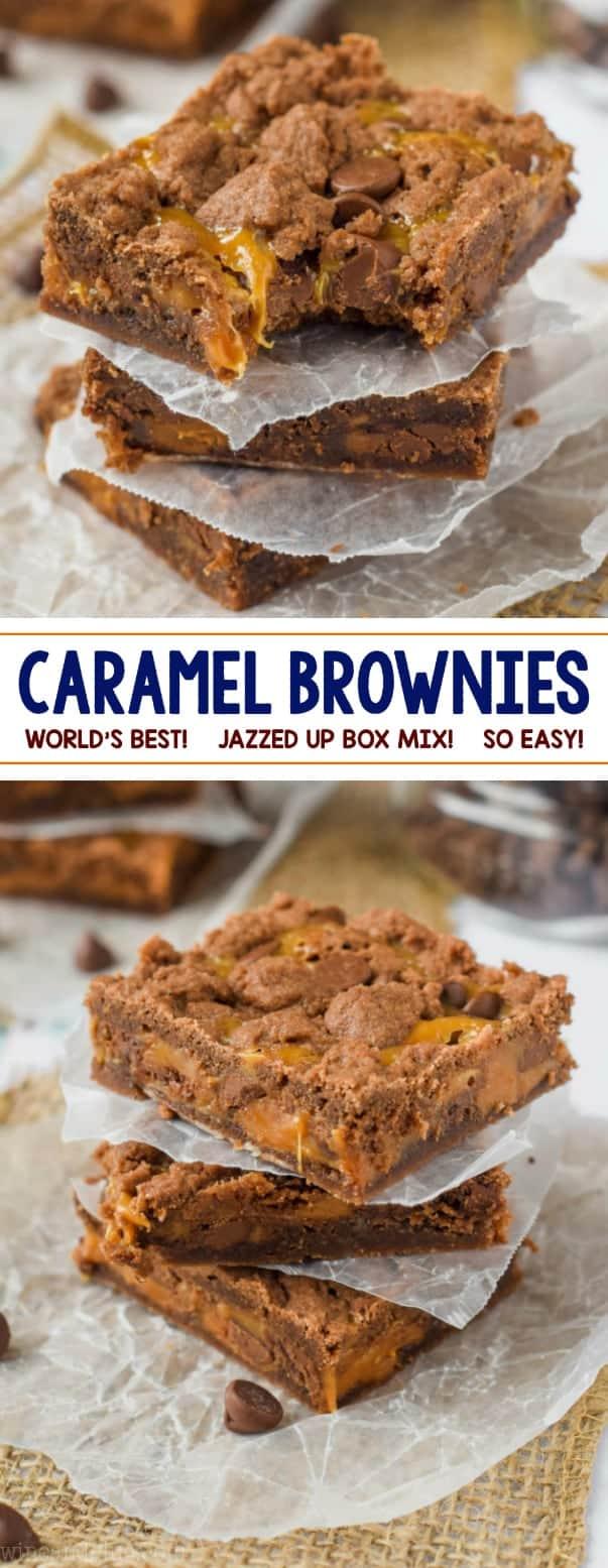 collage of photos of caramel brownies