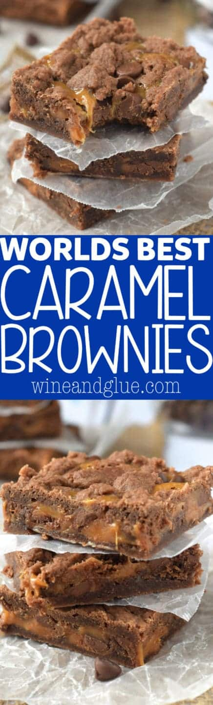 These World's Best Caramel Brownies are SUPER EASY to make and everyone ALWAYS asks for the recipe! Addictive!