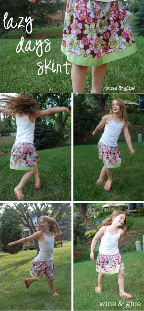 Lazy Days Skirt | www.wineandglue.com | The easiest skirt you could ever make!  Perfect for a beginning sewer!