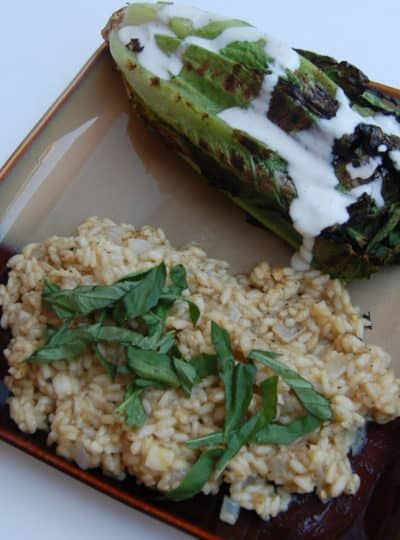 Meatless Monday #6 {Eggplant Risotto & Grilled Cesar Salad}