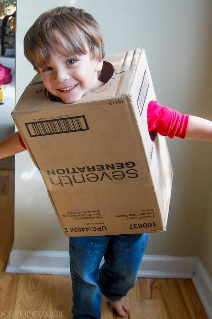 little boy in a box to make a cheap halloween costume