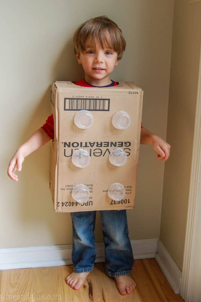 picture of a boy in a creative halloween costume idea, a lego brick