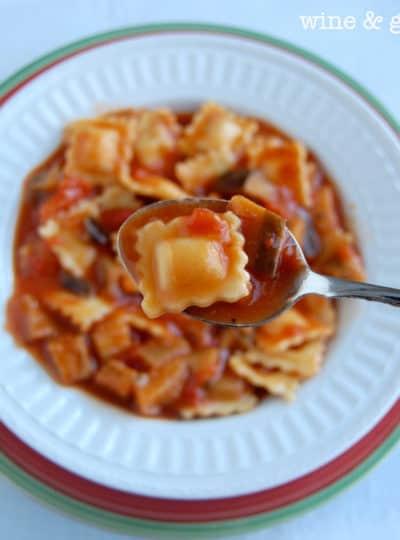 Eggplant Raviolini Soup with Mozzarella Focaccia Biscuits