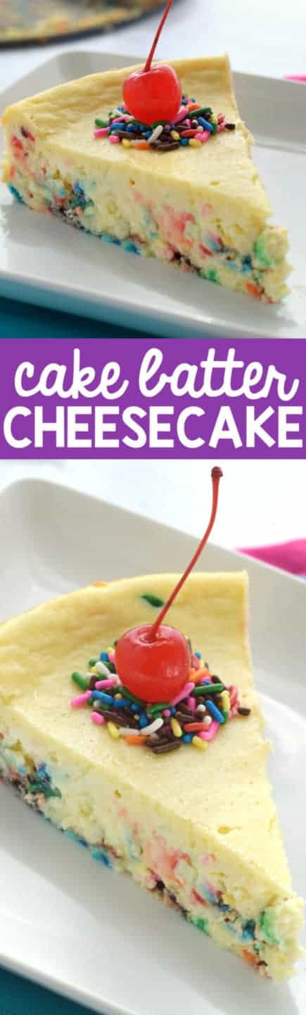 This Cake Batter Cheesecake is almost as good as licking the beaters!