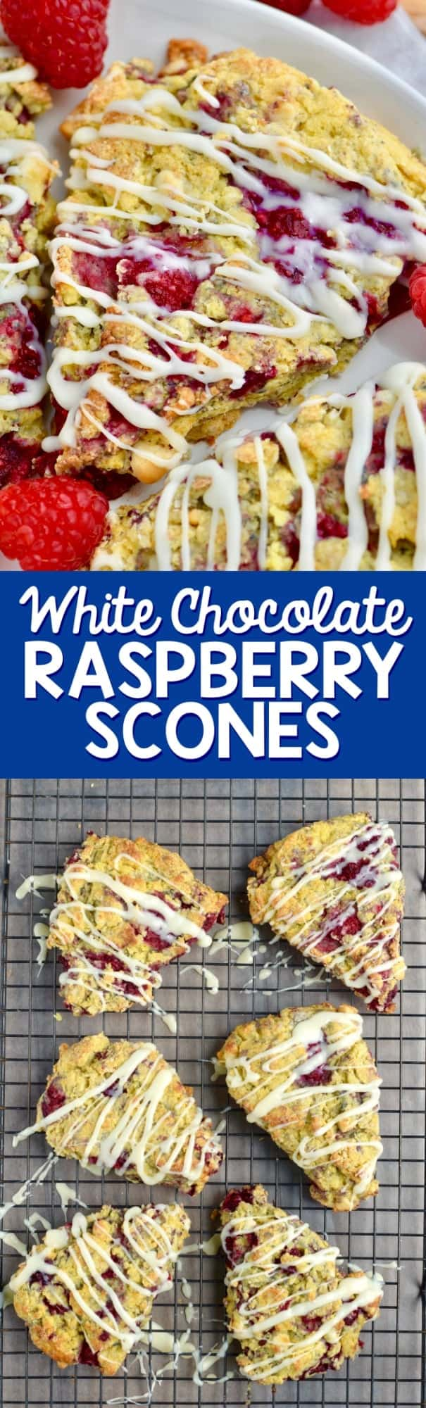 These White Chocolate Raspberry Scones are soft, moist, delicious scones! Your coffee has never been happier.