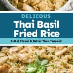 collage of photos of Thai Basil Fried Rice