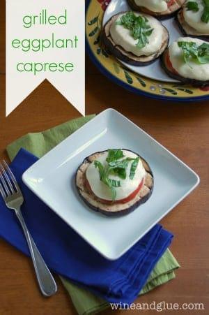Grilled Eggplant Caprese via www.wineandglue.com