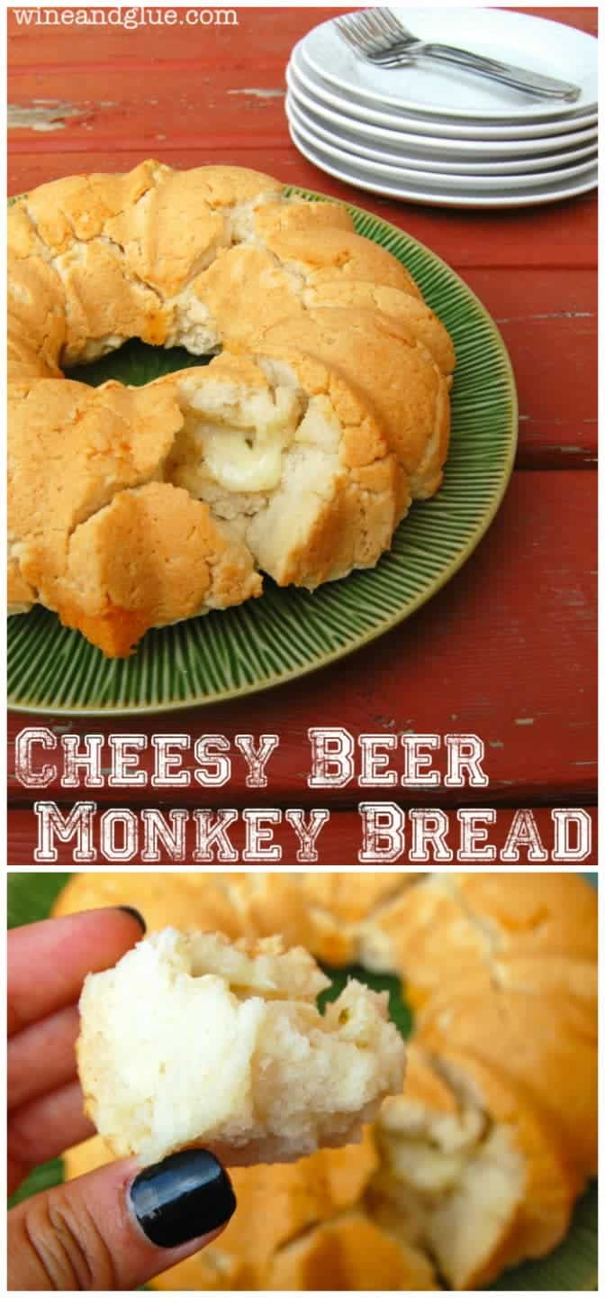 Delicious Cheesy Beer Monkey Bread | www.wineandglue.com | Delicious beer bread and melty cheese in monkey bread form!
