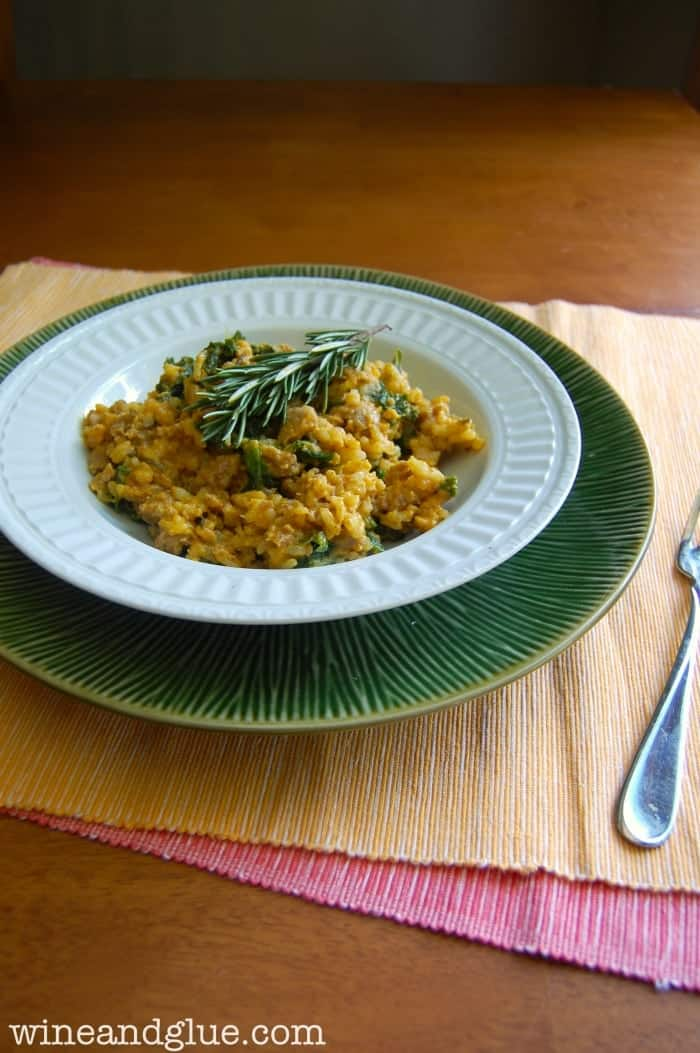 Creamy Pumpkin Goat Cheese Risotto | Full fall nutty flavor that is creamy, rich, and delicious! via www.wineandglue.com