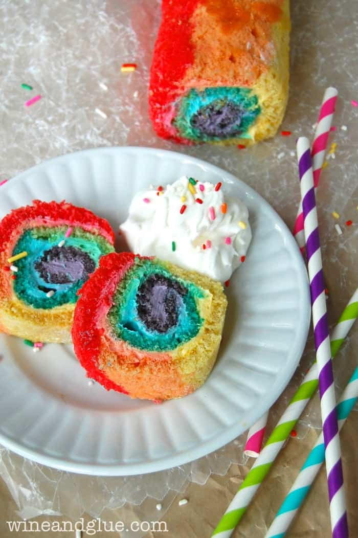 Rainbow Cake Roll!  An easy recipe with a big wow factor!! via www.wineandglue.com