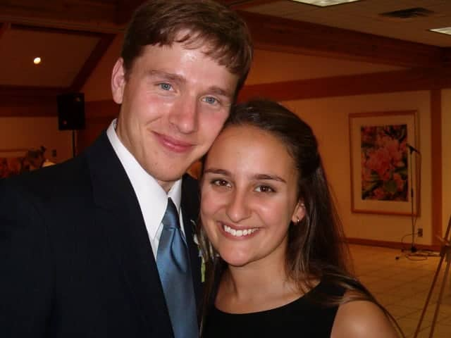 Six weeks before our wedding at my brother's wedding.  Look how young we were!