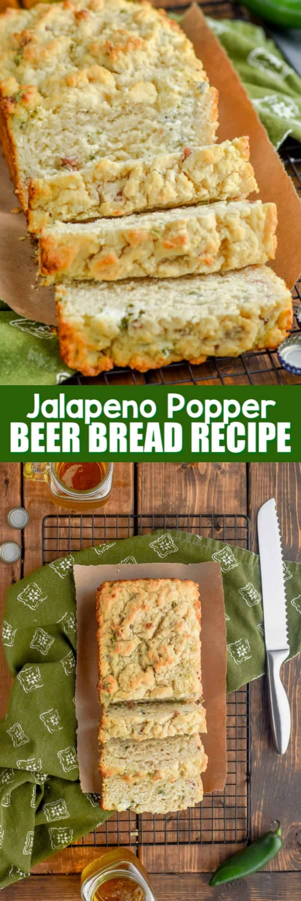 a loaf of jalapeno popper beer bread recipe sliced up