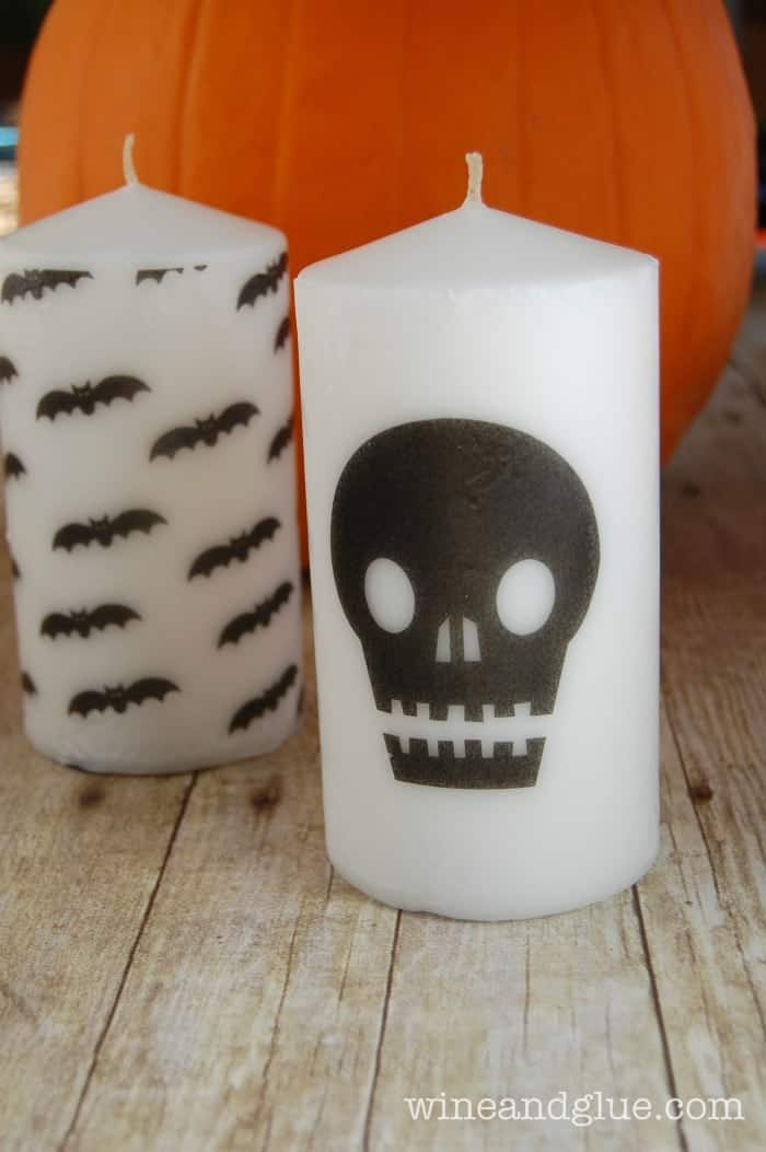 DIY Halloween Candles | Super cute candles for Halloween that can be dressed up any spooky way you want! via www.wineandglue.com
