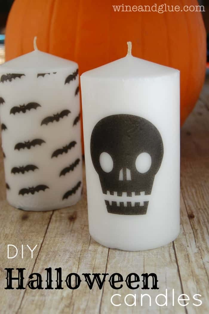 Super cute DIY Halloween candles that can be dressed up any spooky way you want!