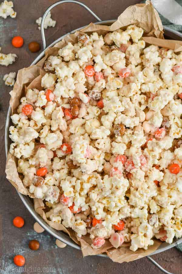 Pumpkin Spice White Chocolate Popcorn