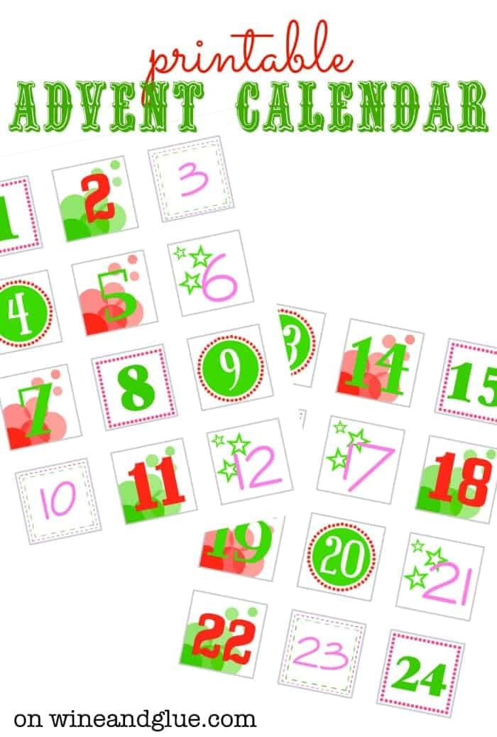 photograph about Advent Calendar Printable named Do-it-yourself Arrival Calendar - Wine Glue