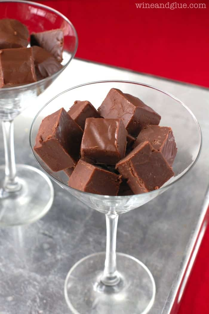 Chocolate Amaretto Fudge! You are only four ingredients away from this amazing fudge! | MomOnTimeout.com
