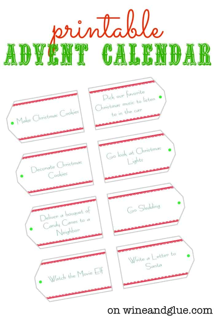 Calendar Activities Printables : Diy advent calendar wine glue