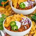 two bowls of ground turkey chili