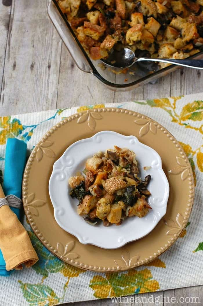 Mushroom & Kale Sausage Stuffing | Addictive stuffing recipe!  via www.wineandglue.com