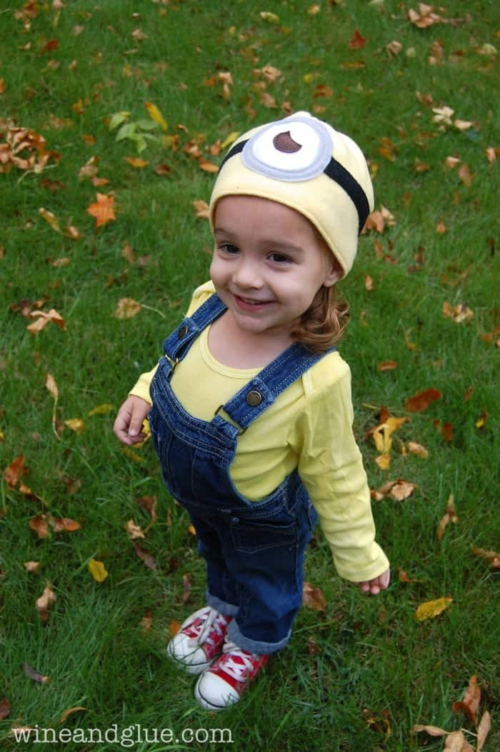 Easy Minion Costume with simple instructions to sew a Minion hat!  sc 1 st  Wine u0026 Glue & Minion Halloween Costume with Easy to Sew Minion Hat - Wine u0026 Glue