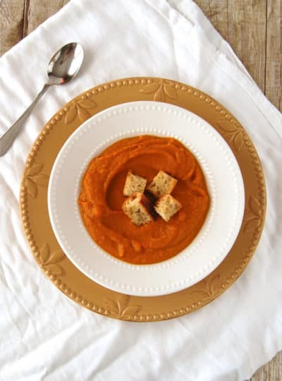 Pumpkin Curry Soup with Rosemary Croutons