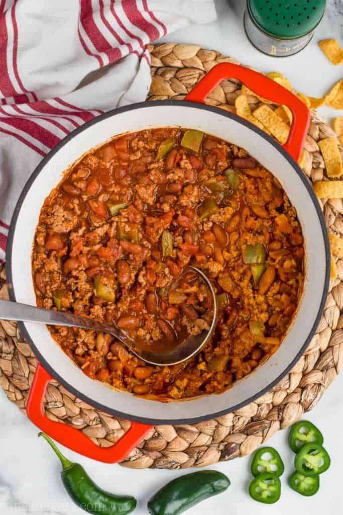 overhead view of stock put full of turkey chili recipe