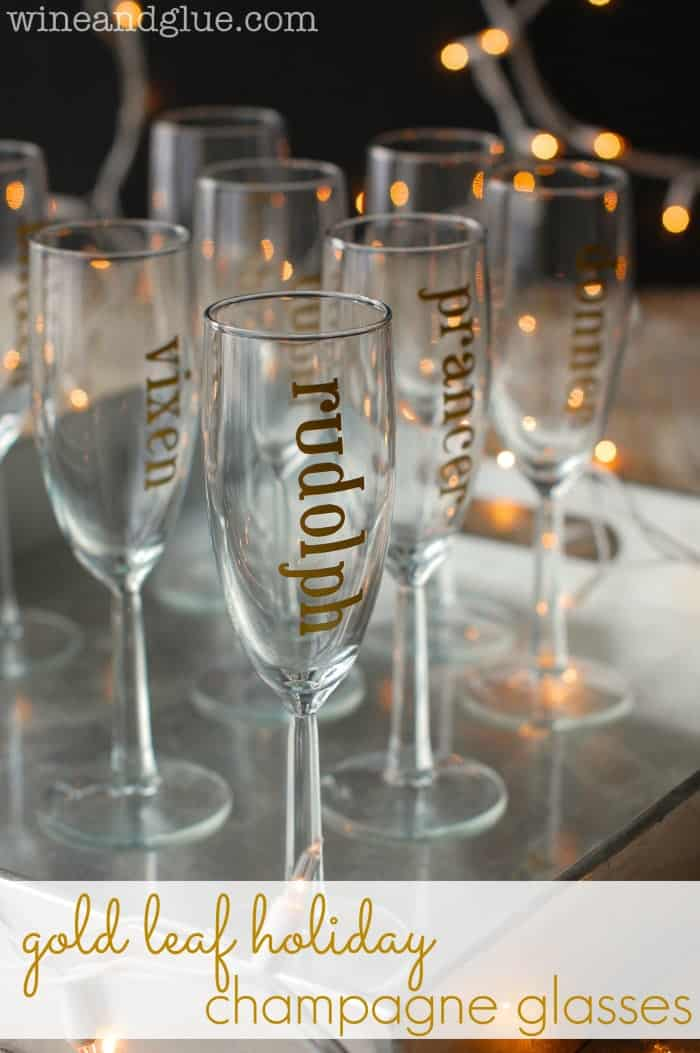 Gold Leaf Holiday Champagne Glasses & Crazy Black Friday Silhouette Deals!