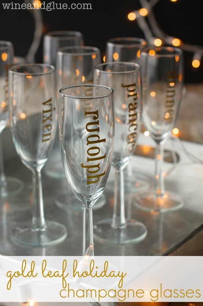 Gold leaf holiday champagne glasses crazy black friday for Holiday stemware