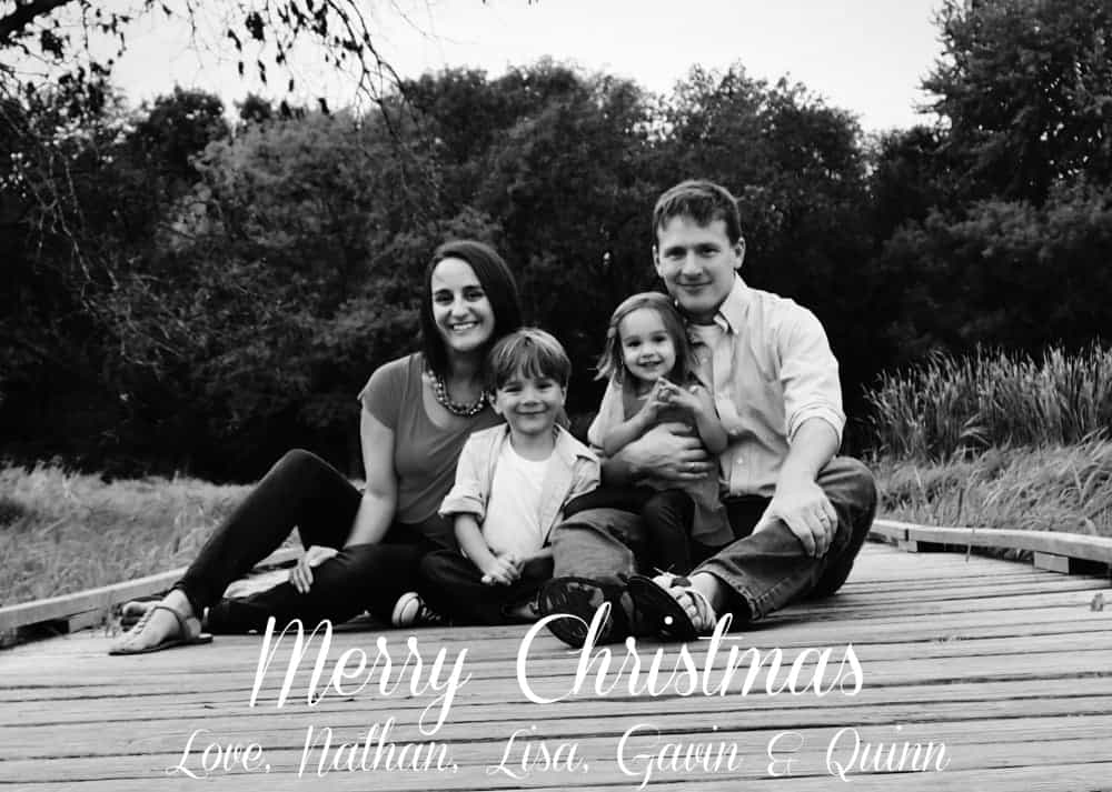 Homemade Christmas Photo Cards! No fancy software needed! via www.wineandglue.com