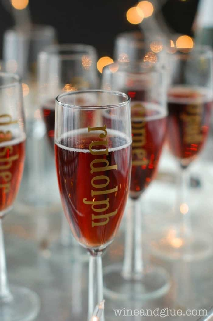 Gold Leaf Holiday Champagne Glasses | www.wineandglue.com