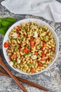 overhead view of easy pesto pasta salad