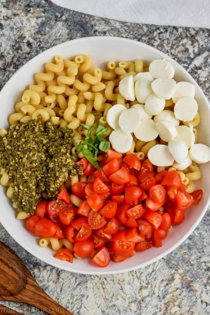 overhead view of easy pesto pasta salad