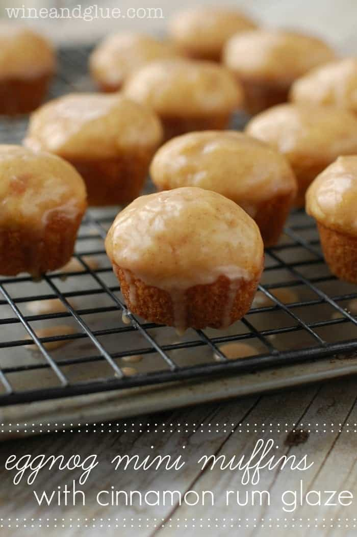 Egg Nog Mini Muffins with Cinnamon Rum Glaze! via www.wineandglue.com