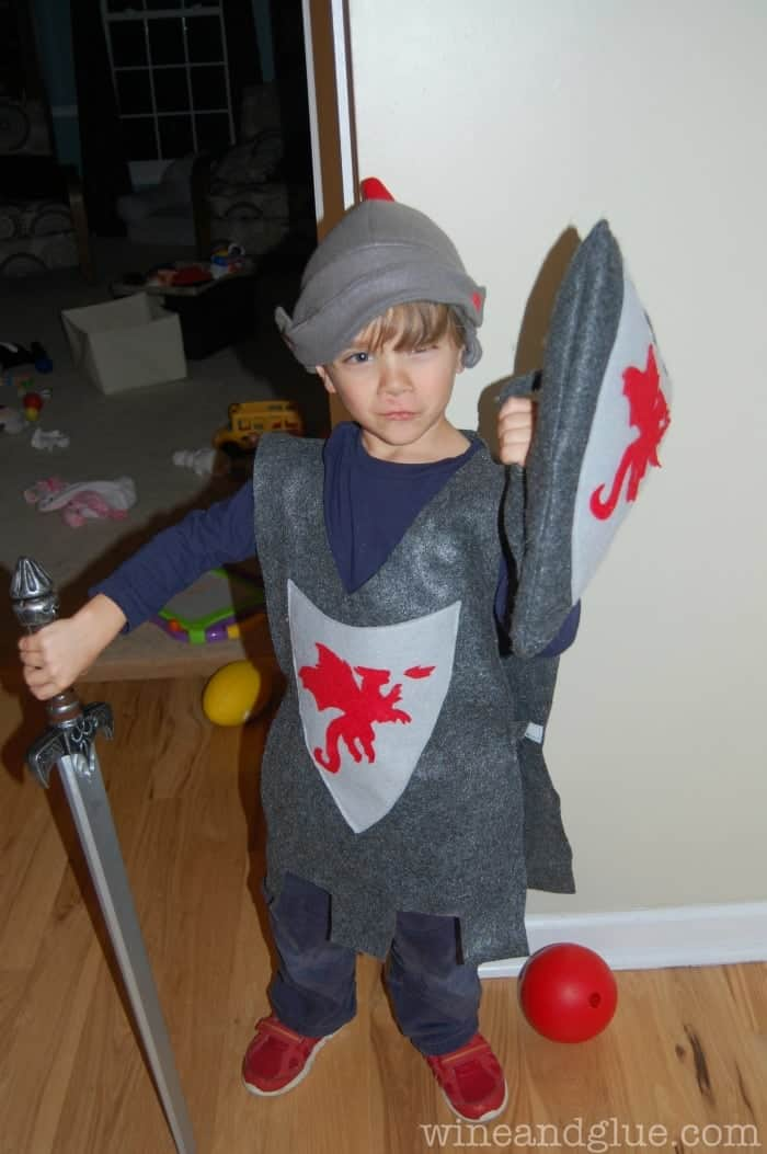 Homemade Knight Costume on www.wineandglue.com