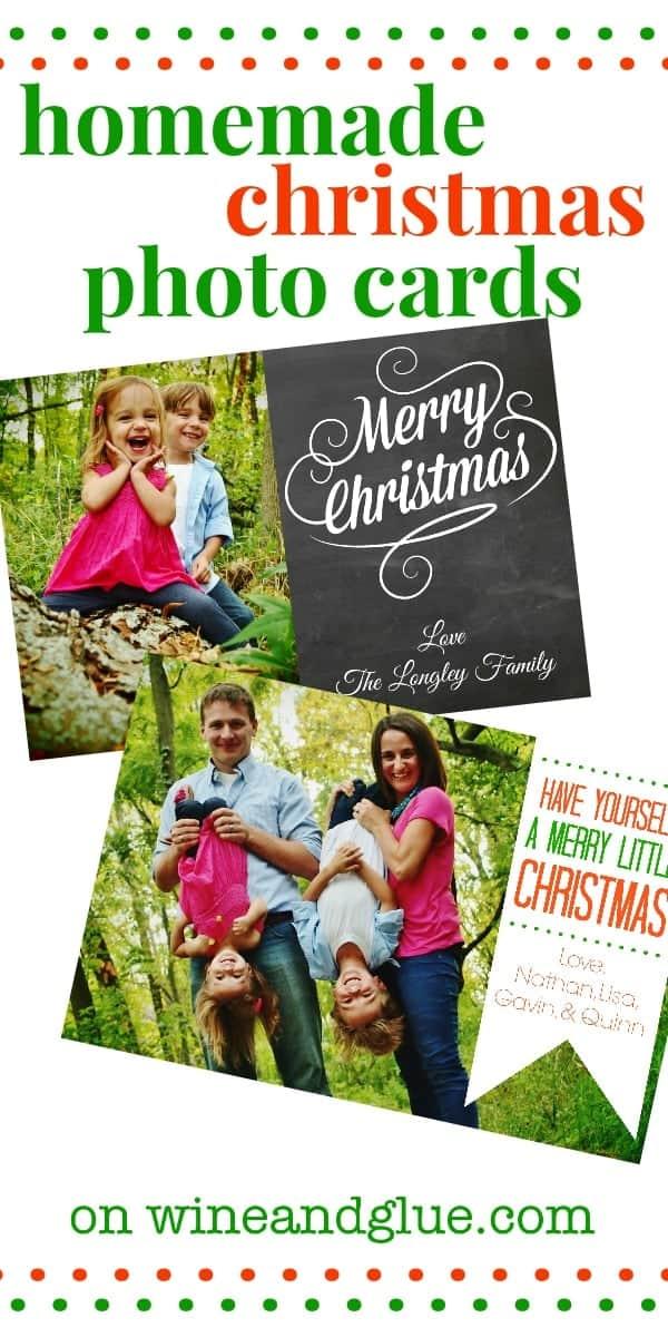 Homemade Christmas Photo Cards! No fancy software needed! via www.wineandglue.com