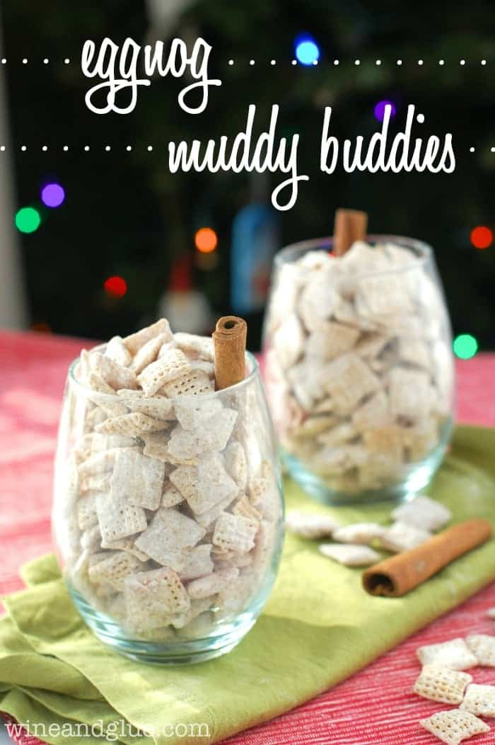 Eggnog Muddy Buddies | www.wineandglue.com | Delicious puppy chow flavored like your favorite holiday drink!