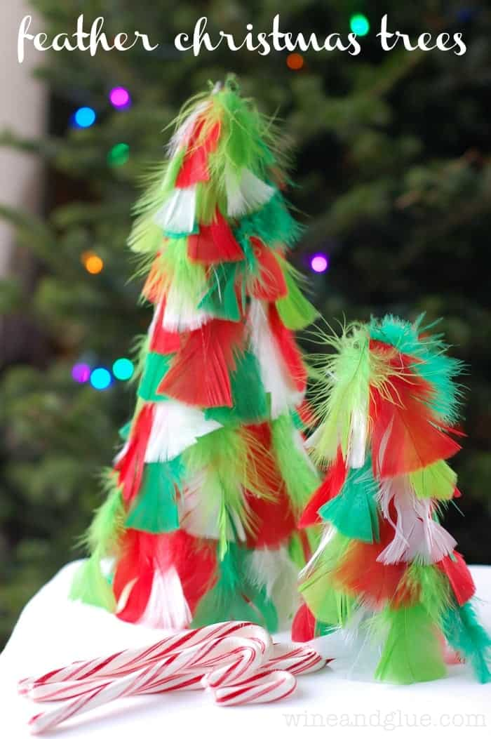 Homemade Christmas Decorations {Feather Christmas Trees}