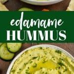 collage of photos of edamame hummus recipe
