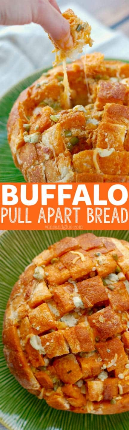 This Buffalo Pull Apart Bread is cheesy bread with that buffalo flavor that makes it perfect for any party!