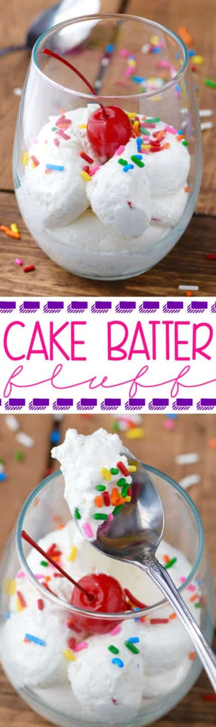 This Cake Batter Fluff is an EASY way to satisfy those late night sweets cravings!