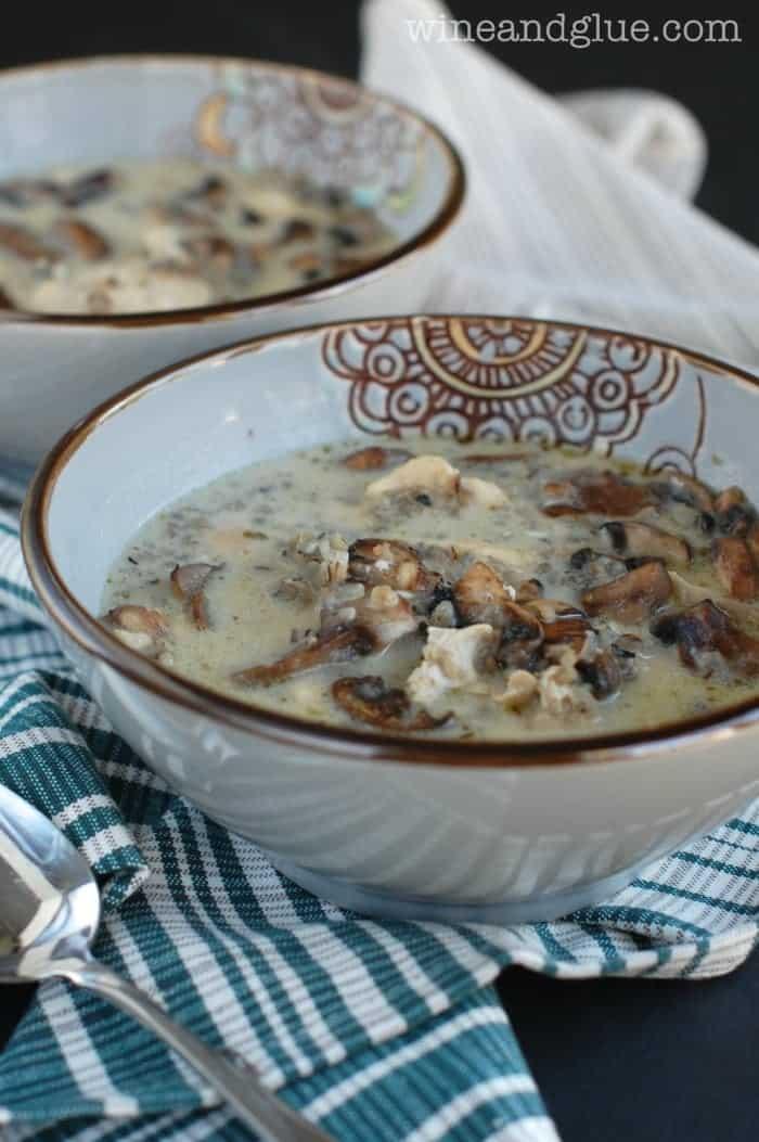 Creamy Chicken, Mushroom and Wild Rice Soup - Wine & Glue