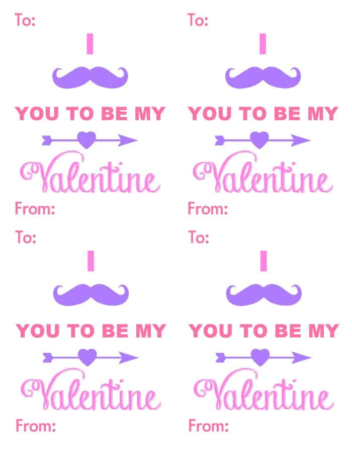 Mustache Valentines {Free Valentine Printable} | www.wineandglue.com | A fun and free valentine printable!
