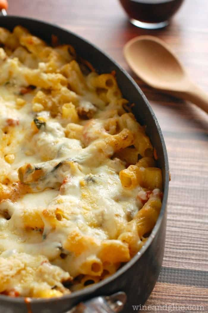 Baked Pasta with Sausage, Mushroom, and Spinach - Wine & Glue