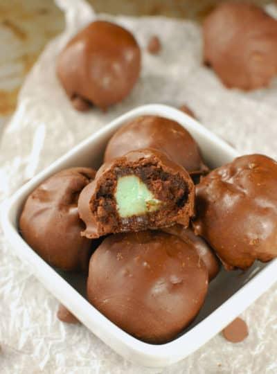 Mint Creme Brownie Bombs