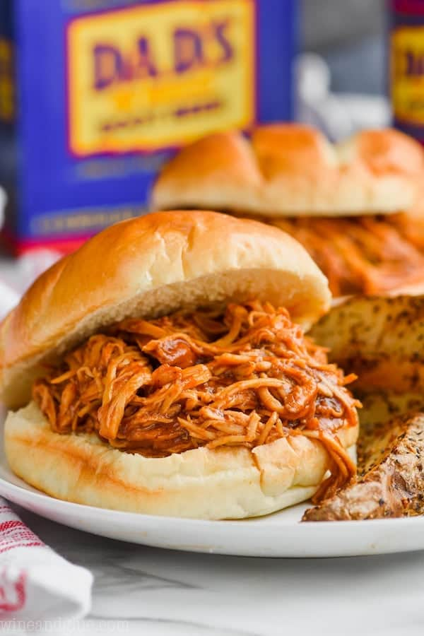 Root Beer Slow Cooker BBQ Chicken Sandwiches