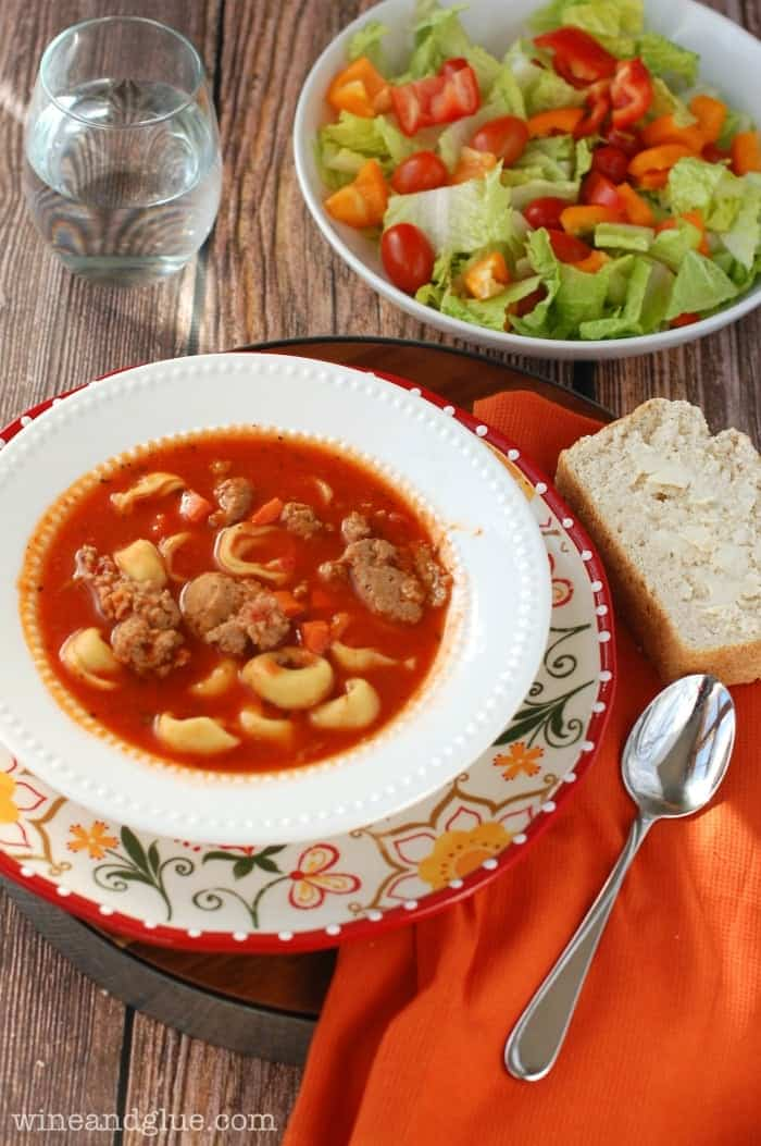 Spicy Sausage and Tortellini Soup | www.wineandglue.com | A super delicious one pot dinner!